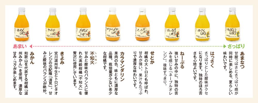 和歌山の柑橘100%ピュアジュース8本 ギフトセット