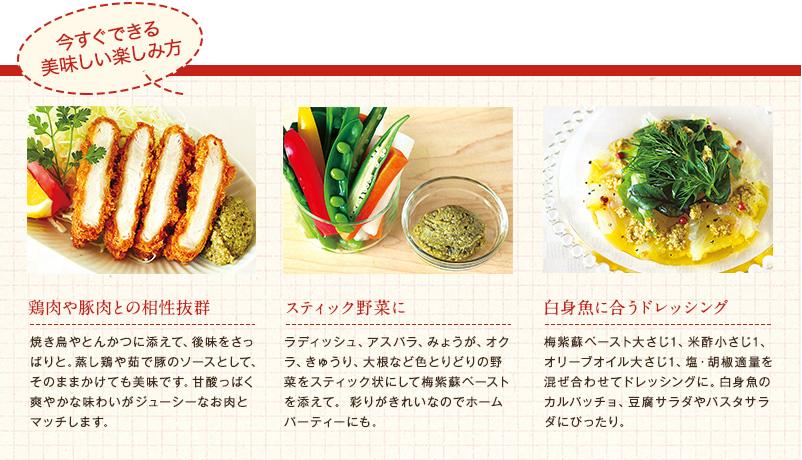 <梅紫蘇ペースト>今すぐできる美味しい楽しみ方