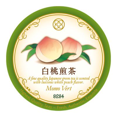 白桃煎茶 50gイラスト入ラベル缶入