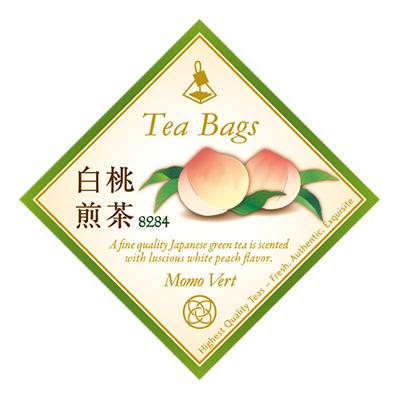 白桃煎茶 ティーバッグ10個イラスト入ラベル缶入
