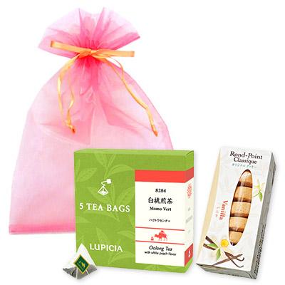 緑茶とお菓子「桃色」