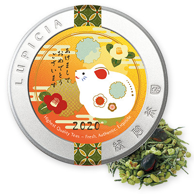 8834 抹茶黒豆玄米茶 50g干支飾りラベル缶入