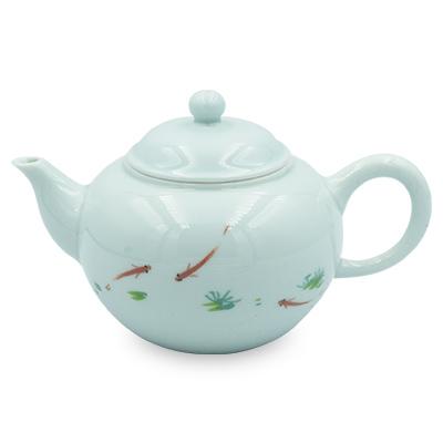 青磁 茶壺 浮魚
