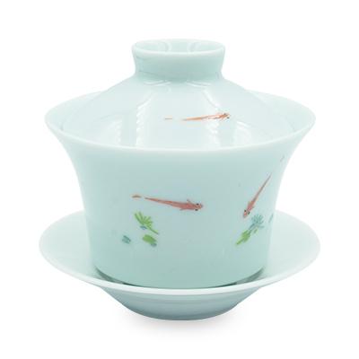 青磁 蓋碗 浮魚