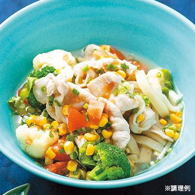 夏野菜冷しゃぶ麺スープ
