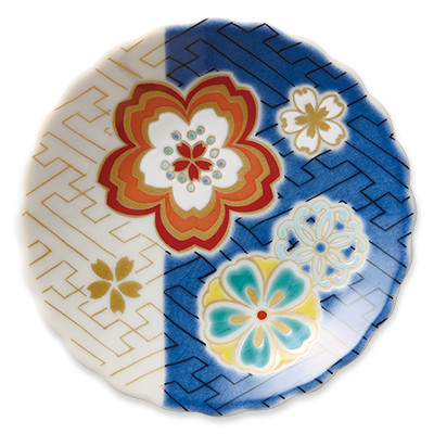 オリジナル 豆皿 桜紗綾形文(さくらさやがたもん)