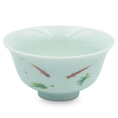 青磁 茶杯 浮魚