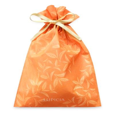 ギフト用巾着袋(リーフ柄・オレンジ)