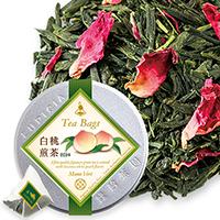 白桃煎茶ティーバッグ10個イラスト入ラベル缶入