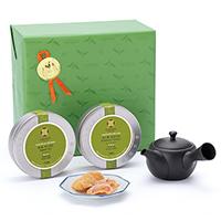 日本茶2種と茶器とお菓子「威風(いふう)」