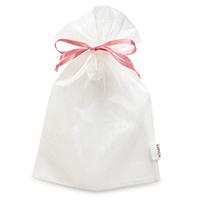 オーガンジー巾着袋 オフホワイト(ローズピンク)