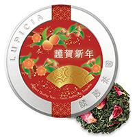 白桃煎茶50g桃寿ラベル缶入
