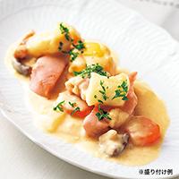 秋鮭とキタアカリニョッキのクリームシチュー