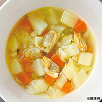 春アサリと越冬野菜スープ