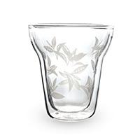 ルピシア オリジナル耐熱二層グラス リーフ柄