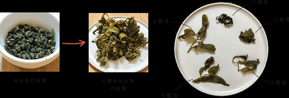 1煎目から5煎目の茶葉の変化